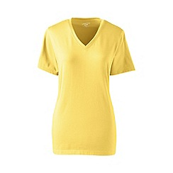 Lands' End - Yellow petite supima short sleeve v-neck tee