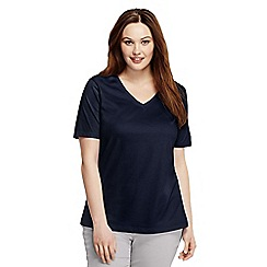 Lands' End - Blue plus supima short sleeve v-neck
