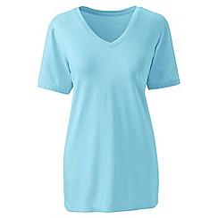Lands' End - Blue plus supima short sleeve v-neck