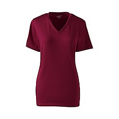 Lands' End - Red supima short sleeve v-neck