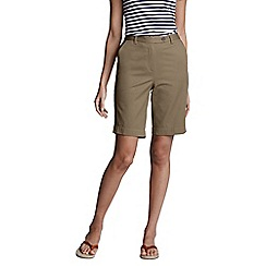 Lands' End - Beige back-elastic cotton twill shorts