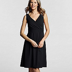 Lands' End - Black pleated front crossover dress