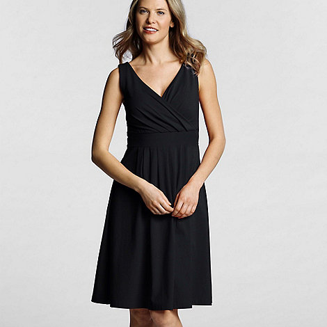 Lands+ End - Black pleated front crossover dress
