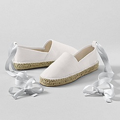 Lands' End - White Espadrilles With Ankle Tie