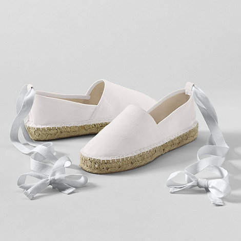 Lands+ End - White Espadrilles With Ankle Tie