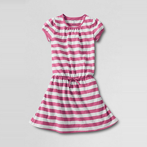 Lands+ End - Pink Stripe Tie-Front Tee Dress