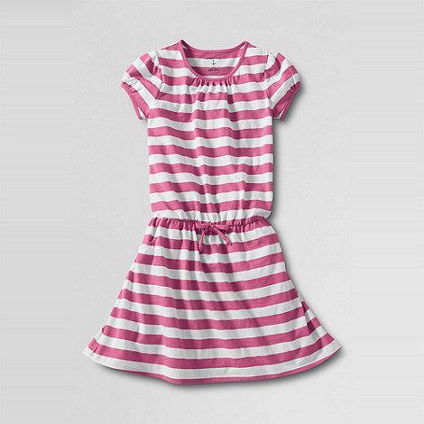 Lands+ End - Pink Stripe Tie-Front Tee Dress