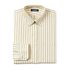 Lands' End - Yellow regular patterned tailored fit easy-iron button-down supima oxford shirt