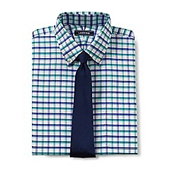 Lands' End - Blue regular patterned tailored fit easy-iron button-down supima oxford shirt