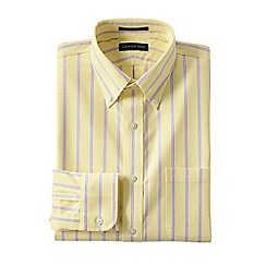 Lands' End - Yellow men's regular patterned tailored fit easy/iron button/down supima oxford shirt