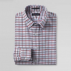 Lands' End - Red men's regular patterned tailored fit easy-iron button-down supima oxford shirt