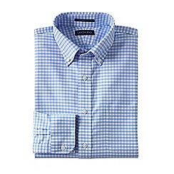 Lands' End - Blue men's regular patterned tailored fit easy/iron button/down supima oxford shirt