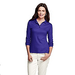 Lands' End - Blue women's regular long sleeve pima polo classic fit