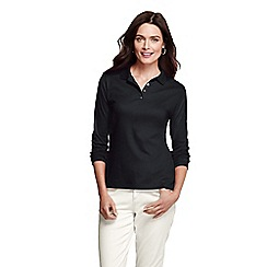 Lands' End - Black long sleeve pima polo