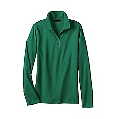 Lands' End - Green regular long sleeve pima polo classic fit