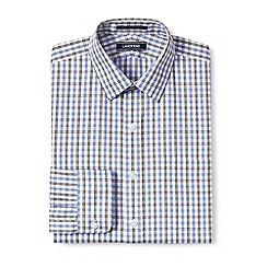 Lands' End - Blue tailored fit patterned non-iron pinpoint shirt
