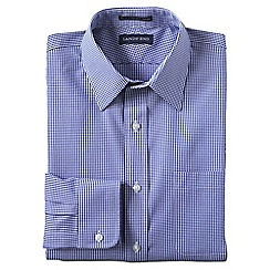 Lands' End - Blue tailored fit patterned non-iron pinpoint