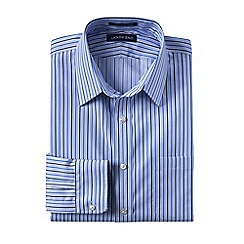 Lands' End - Blue men's tailored fit patterned non-iron pinpoint