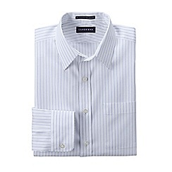 Lands' End - White tailored fit patterned non-iron pinpoint