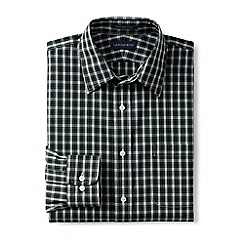 Lands' End - Green patterned straight collar easy-iron pinpoint shirt