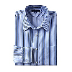Lands' End - Blue men's patterned straight collar easy-iron pinpoint shirt