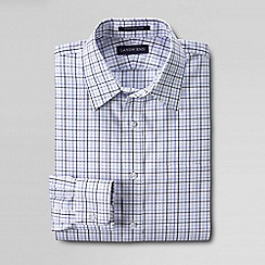 Lands' End - White men's patterned straight collar easy-iron pinpoint shirt