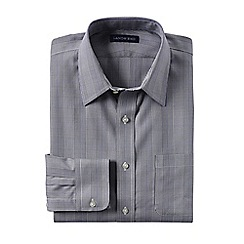 Lands' End - Grey men's patterned straight collar easy-iron pinpoint shirt