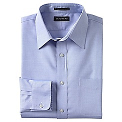 Lands' End - Blue men's straight collar easy-iron pinpoint shirt