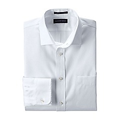 Lands' End - White men's straight collar easy-iron pinpoint shirt