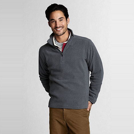 Lands+ End - Grey mens regular polartec aircore 100 half-zip fleece