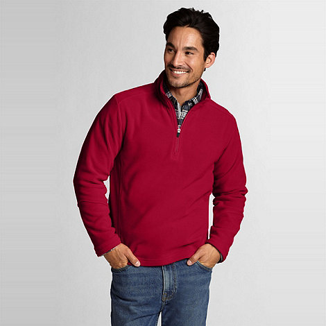 Lands+ End - Red mens regular polartec aircore 100 half-zip fleece