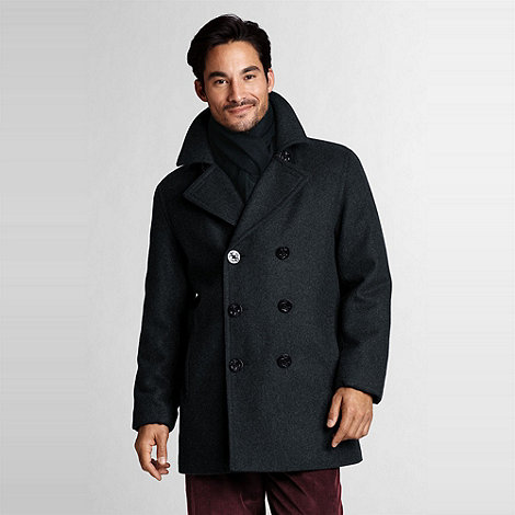 Lands+ End - Grey  Wool Pea Coat