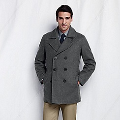 Lands' End - Grey  wool pea coat