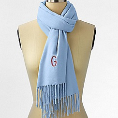 Lands' End - Blue women's cashtouch windowpane scarf