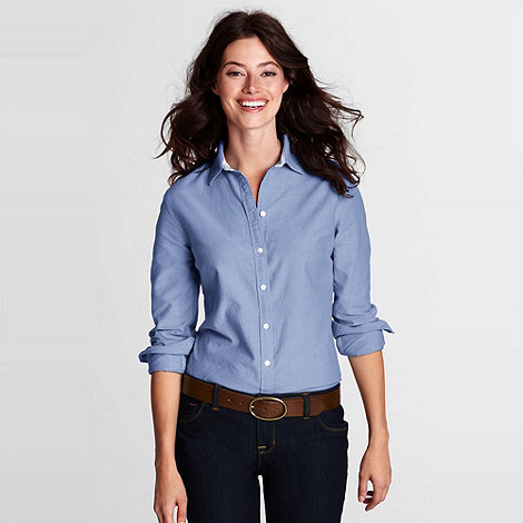 Lands+ End - Blue Women+S Regular Plain Supima Cotton Washed Oxford Shirt