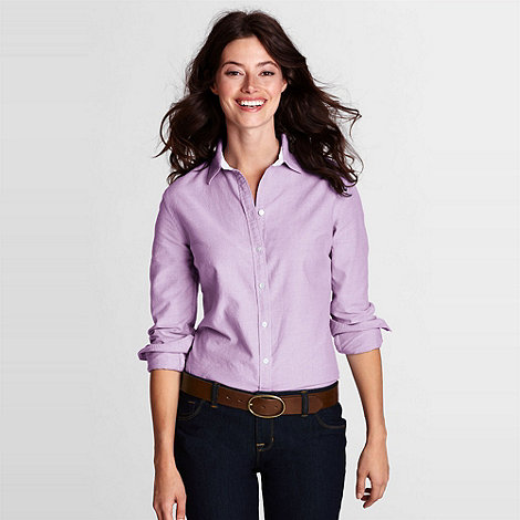 Lands' End - Pink Women'S Regular Plain Supima Cotton Washed Oxford Shirt