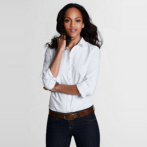 Lands+ End - White Women+S Regular Plain Supima Cotton Washed Oxford Shirt