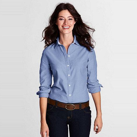 Lands+ End - Blue Petite Plain Supima Cotton Washed Oxford Shirt