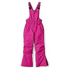 Lands' End - Girls' pink waterproof snow salopettes