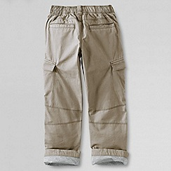 Lands' End - Beige boys' iron knee lined ripstop cargo trousers