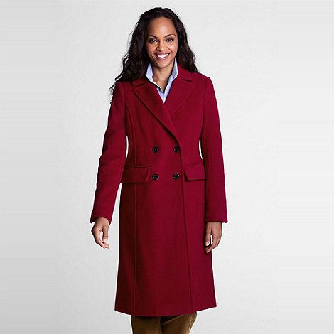 Lands+ End - Red Luxe Wool Double-Breasted Coat