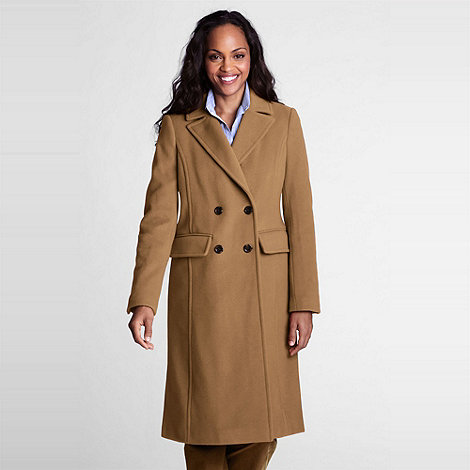 Lands+ End - Brown Luxe Wool Double-Breasted Coat