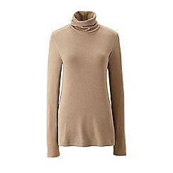 Lands' End - Beige regular shaped supima roll neck top