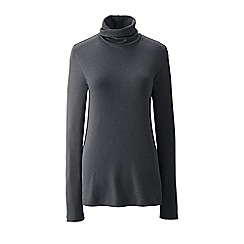 Lands' End - Grey women's regular shaped supima long sleeve roll neck