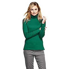 Lands' End - Green women's regular shaped supima long sleeve roll neck