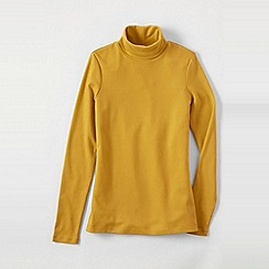 Lands' End - Gold women's regular shaped supima long sleeve roll neck