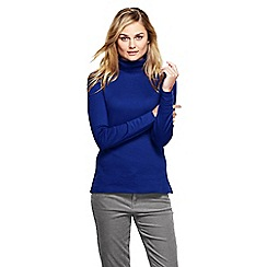 Lands' End - Blue women's regular shaped supima long sleeve roll neck
