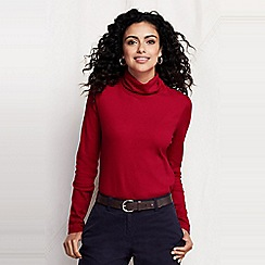 Lands' End - Red women's petite shaped supima long sleeve roll neck