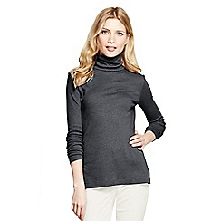 Lands' End - Grey petite shaped supima long sleeve roll neck