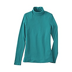 Lands' End - Blue women's petite shaped supima long sleeve roll neck